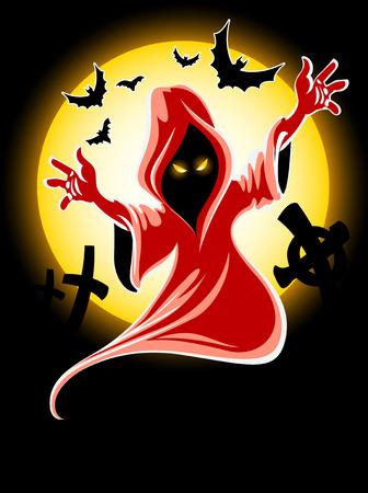 frightful: frightful halloween midnight ghost - vector illustration