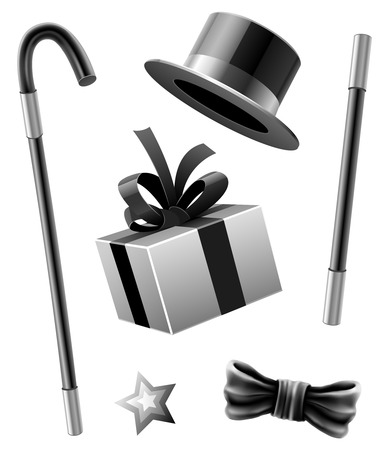 conjurer: magic accessories set of conjurer gentleman - vector illustration Illustration