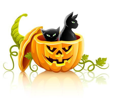 frighten: halloween pumpkin vegetable with black cats - vector illustration