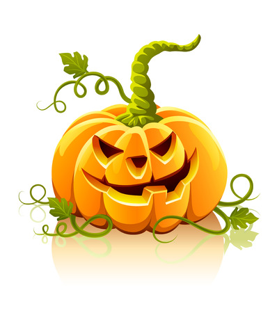 frightful halloween pumpkin vegetable isolated - vector illustration Vector