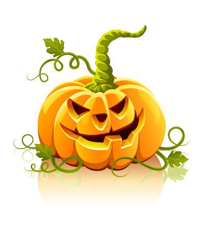 frightful: frightful halloween pumpkin vegetable isolated - vector illustration Illustration