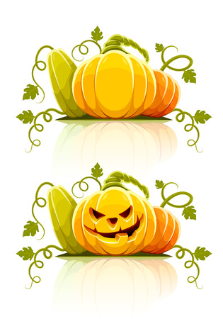 pumpkin face: halloween pumpkin vegetables with green leaves - vector illustration