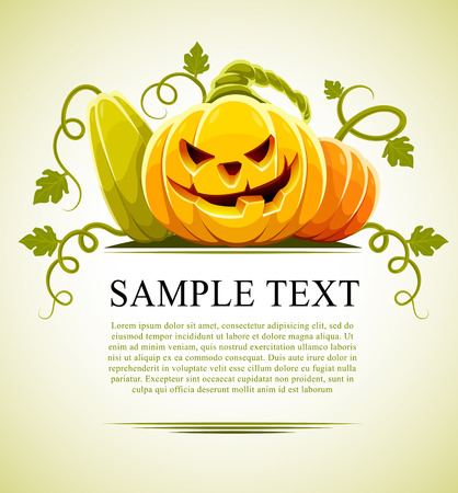 stilllife: halloween pumpkin vegetables with green leaves - vector illustration