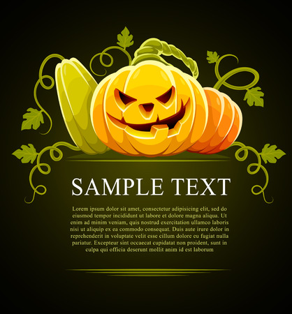 large group of objects: halloween pumpkin vegetables with green leaves on black - vector illustration