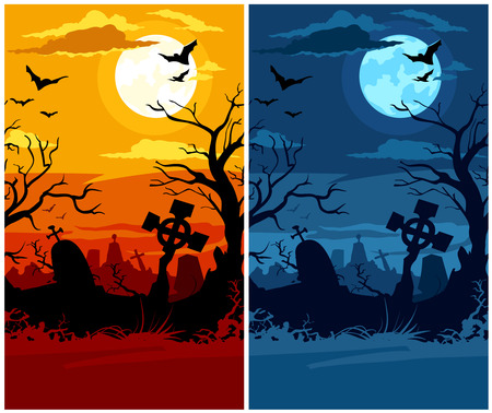 terrible: terrible halloween cemetery with moon night and sunset - vector illustration