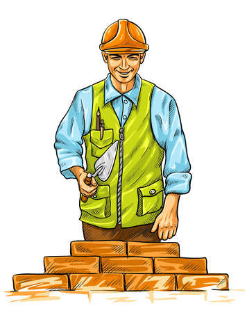 darby: builder man with derby tool building a wall - vector illustration
