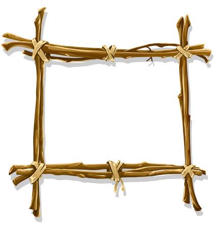 vine border: decorative wooden frame made of interlaced branches - illustration