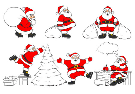 sacks: set of cheerful christmas Santa Clauses in different poses