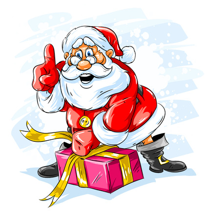 cartoon santa: cheerful Santa Claus opening a Christmas gift box Illustration