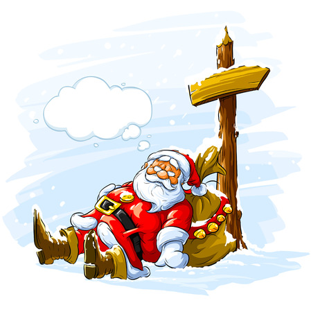 bearded man: Santa claus sleeping near the post with arrow sign and big sack of Christmas gifts