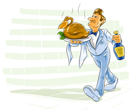 waiter carrying a dish with cooked bird and bottle of drink Stock Vector - 5939423