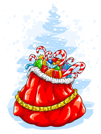Red Santa Claus' sack with Christmas gifts Stock Vector - 5939453