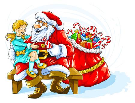 toy sack: Ni�a sonriente feliz con regalos de Navidad y Santa Claus Vectores