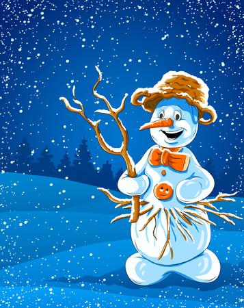 smiling snowman in winter night - vector illustration Vector