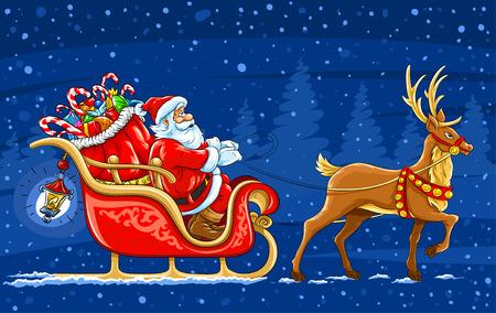 sledge: Navidad Santa Claus mover en el trineo con renos y regalos - ilustraci�n vectorial Vectores