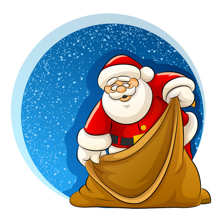 Santa Claus with empty sack for christmas gifts - vector illustration