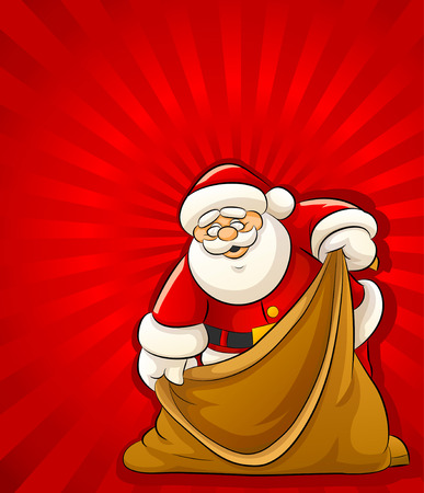 gift bags: Santa Claus with empty sack for christmas gifts - vector illustration