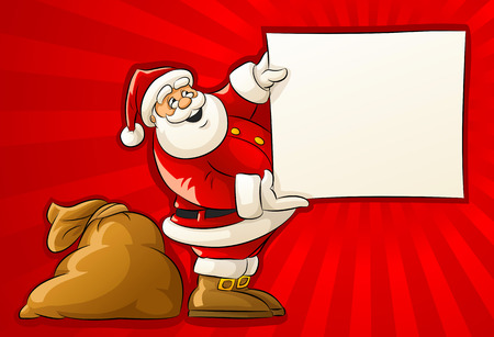 cartoon santa: Santa Claus with sack and blank Christmas greeting paper - vector illustration Illustration