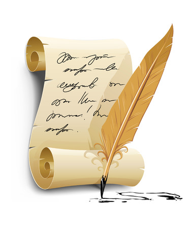 script writing: old writing script with ink feather tool - vector illustration Illustration