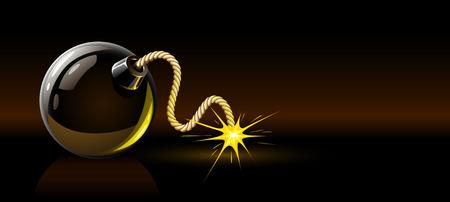 perilous: black burning bomb - military vector illustration
