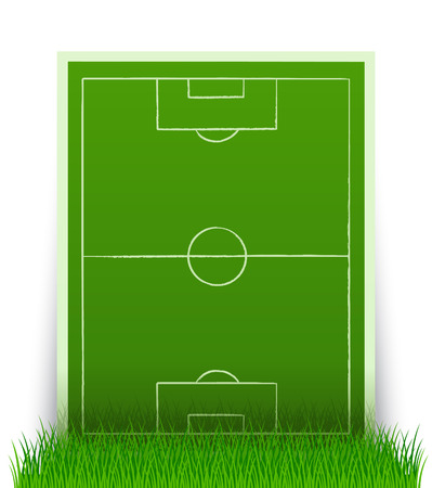 soccer field: green soccer field in the grass - vector illustration