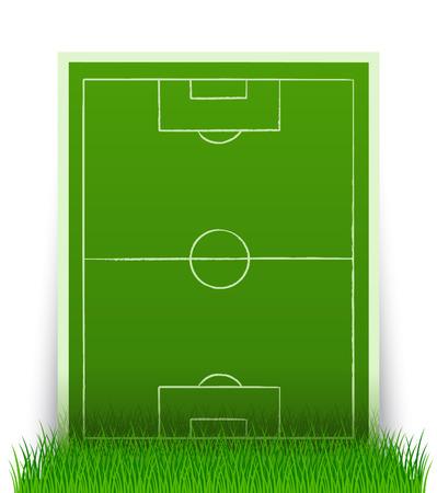 soccerfield: groene voet bal veld in het gras - vector afbeelding