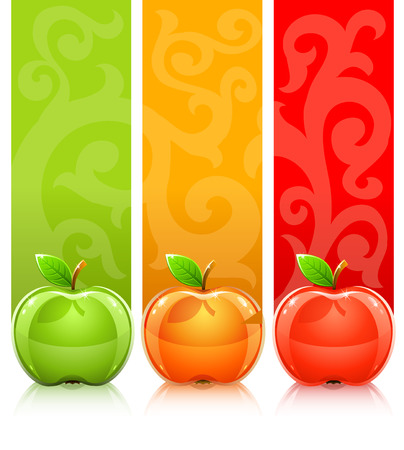 nutrition and health: three coloured apples on decorative background Illustration