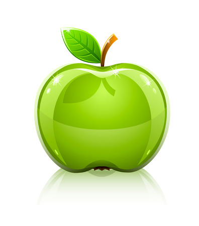 green apples: glossy glass green apple with leaf - vector illustration Illustration