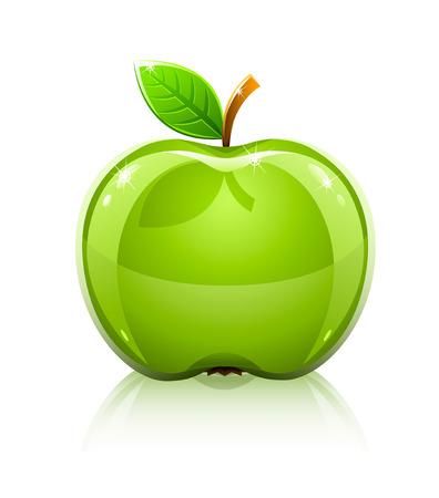manzana verde brillante cristal con hoja - ilustración vectorial