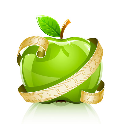 nutrition health: glossy glass green apple with measuring line