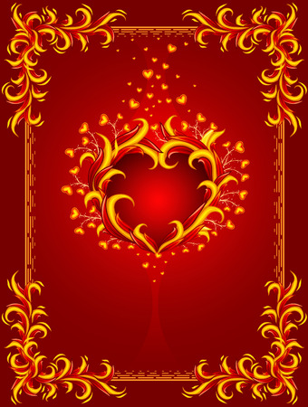 burning heart: red background with burning heart and frame %uFFFDillustration