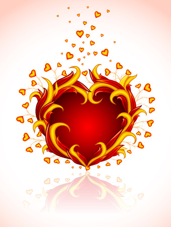 red burning heart to valentine's day  illustration isolated on white background Stock Vector - 6247935