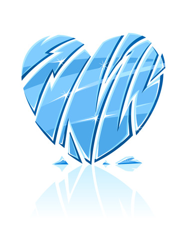 icy: broken blue icy heart  illustration