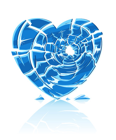 cracked glass: broken blue icy heart illustration