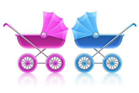 baby carriage: pink and blue carriages for baby transportation - illustration