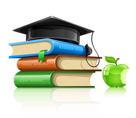 pile of school books with professor's cap and apple  illustration, isolated on white background Stock Vector - 6371793