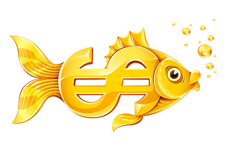 golden fish: gold fish in form of dollar currency sign - illustration, isolated on white
