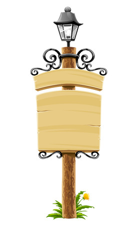 signboard: wooden post with signboard, lantern and forged decoration