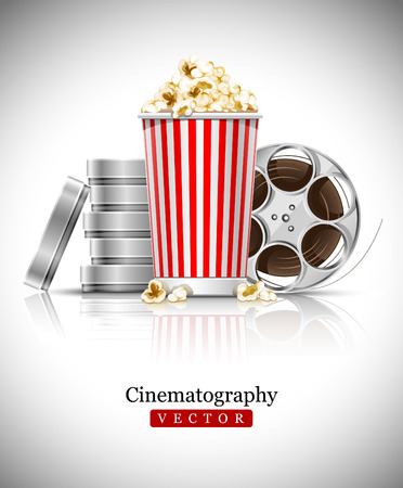 cinematograph in cinema films and popcorn illustration Vector