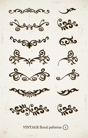 backgound: set of vintage decorative patterns on grunge backgound. illustration Illustration