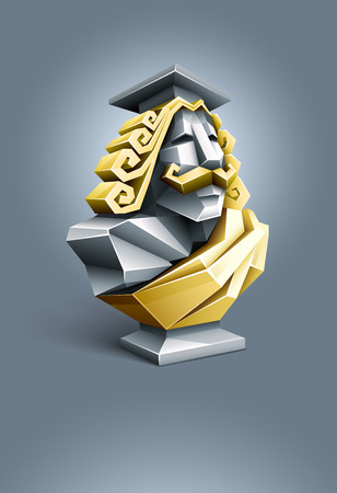 antique sculpture bust of wise professor. vector illustration. gradient mesh used Illustration