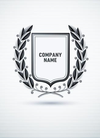 heraldic emblem with silver laurel wreath. vector illustration Stock Vector - 8621473