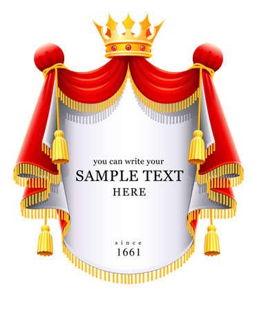 corona real: Royal manto majestuoso con ilustraci�n de vector de la corona de oro aislado en fondo blanco