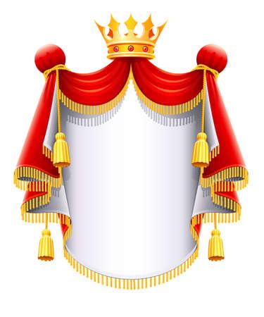 koninklijke kroon: Royal majestueuze mantel met gouden kroon vectorillustratie geïsoleerd op witte achtergrond