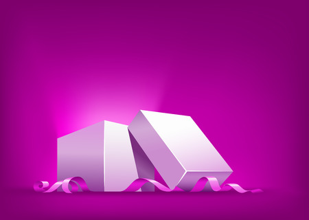unexpectedness: open box with pink ribbon vector illustration. Gradient mesh used