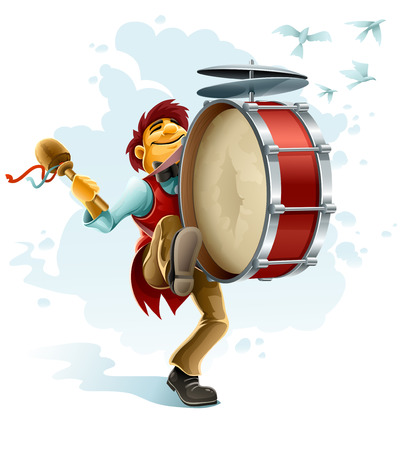 happy street musician playing drum Vector