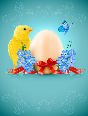 easter card with egg chicken and forget-me-not flowers Stock Vector - 8854813