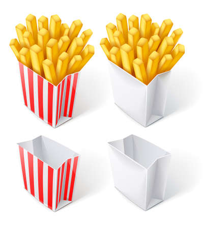 french fries: fried chips in paper bag