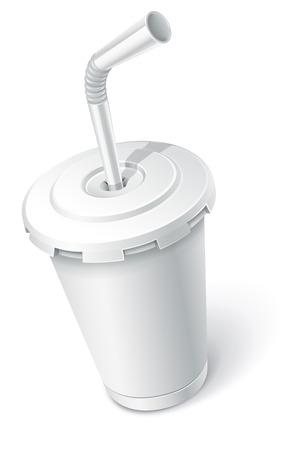 kunststoff rohr: Fast-Food Papierschale mit Rohr. Vektor-Illustration isoliert auf wei�em Hintergrund