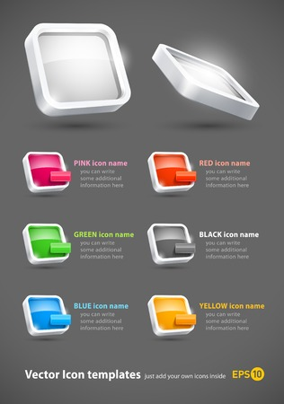 3d glassy color icons set eps10 Stock Vector - 8976506